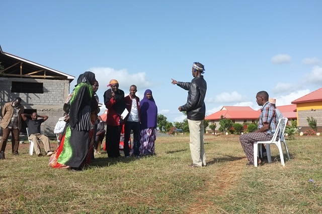 Marsabit, Northern Kenya: Community members using Theatre of the Oppressed  to explore strategies to counter corruption and intimidation.
